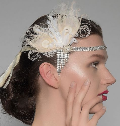 "Cream White Peacock Goose Feathers Crystal Headband 1920's Art Deco Gatsby Flapper ""Bea"""